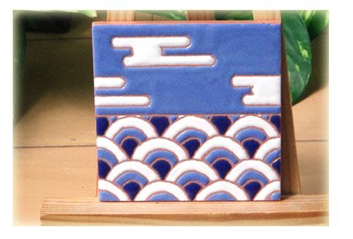 パターンタイル「青海波と霞」75×75mm画像