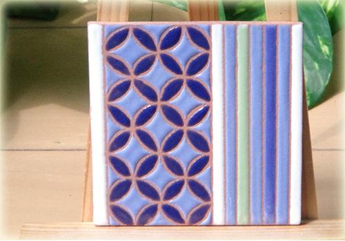 パターンタイル「七宝と縞」75×75mmの画像