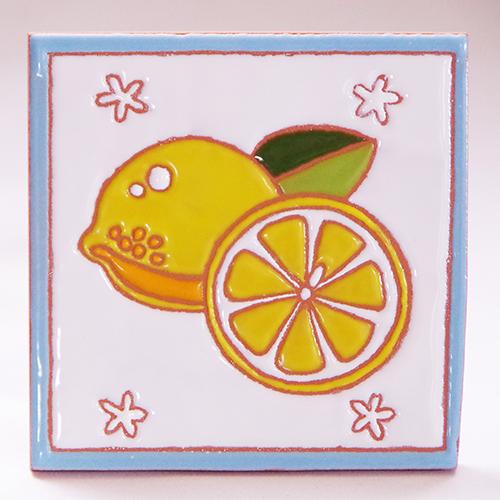 絵タイル「レモン」100×100mmの画像