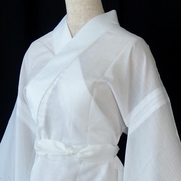 プレタ長襦袢 単衣 絽 白 / 東レシルック 紙人形 爽竹 丸洗いOK 簡単に美しく / 5つのサイズからお選びください。の画像