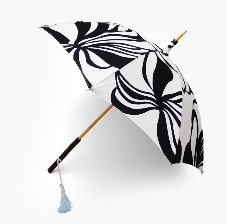 内藤早苗 注染の日傘 「Fragile」 / 白×濃藍 綿麻画像
