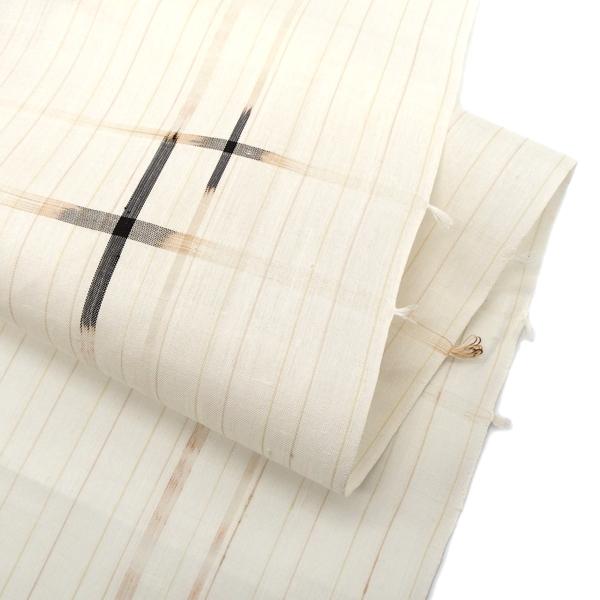 本場琉球絣 着尺 「風車」 大城一夫 (大城廣四郎織物工房)生成りに茶画像