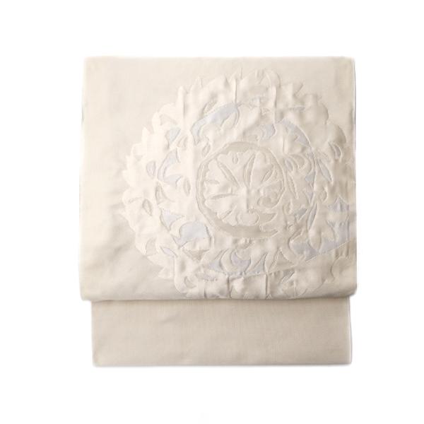 洛風林 「レリーフ」 九寸名古屋帯 膨れ織 白よごしに銀糸と白花画像