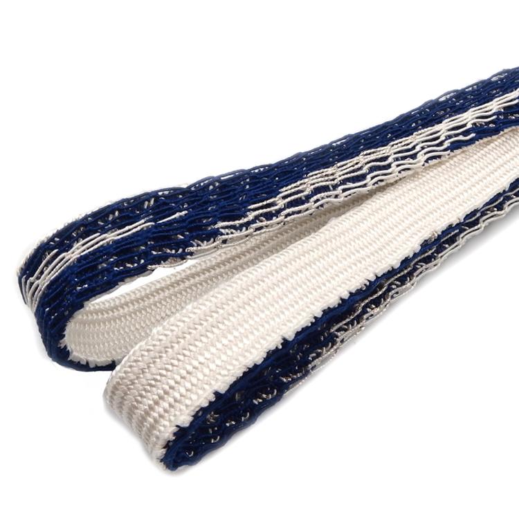 衿秀 夏帯締め 編み目レース 紺と白と銀糸 <即日発送可>画像