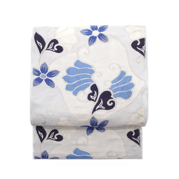 洛風林 「マグノリアの花」 膨れ織 九寸名古屋帯 月白色(水色がかった極薄いグレー)画像