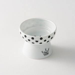 猫壱 ハッピーダイニング 脚付おやつ皿 水玉柄の画像