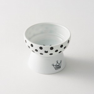 猫壱 ハッピーダイニング 脚付おやつ皿 水玉柄画像