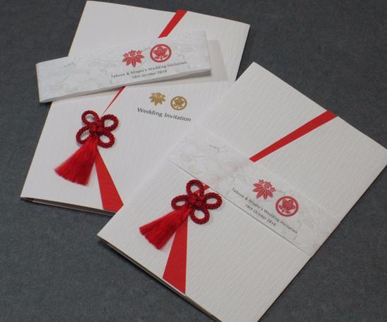 家紋<白無垢/赤>【印刷込】招待状セットの画像