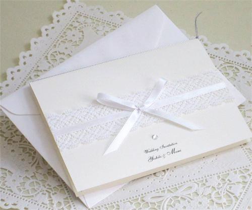 ホワイトクリスタル【手作り】招待状セット画像