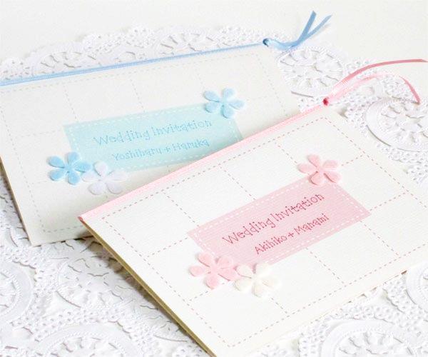 フラワーパフ<ピンク&ブルー>【印刷込】招待状セットの画像