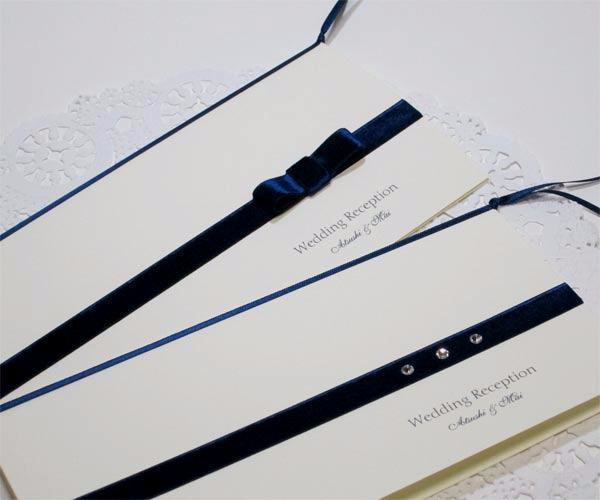 ベルベット ネイビー【印刷込】一体型席次表の画像