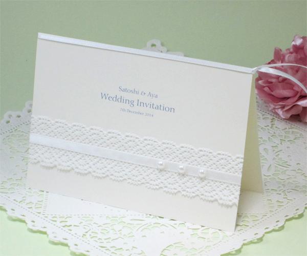 パールホワイト【手作り】招待状セットの画像