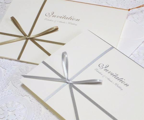 vividゴールド・シルバー・ホワイト【印刷込】招待状セットの画像