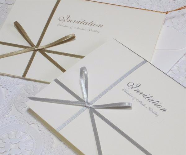 vividゴールド・シルバー・ホワイト【手作り】招待状セットの画像