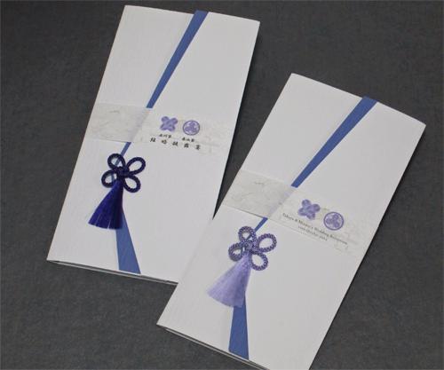 家紋<白無垢/紫・藤紫>【印刷込】一体型席次表の画像