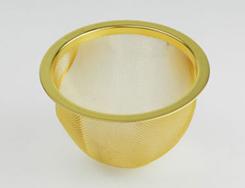 純金鍍金処理をした高級茶漉し