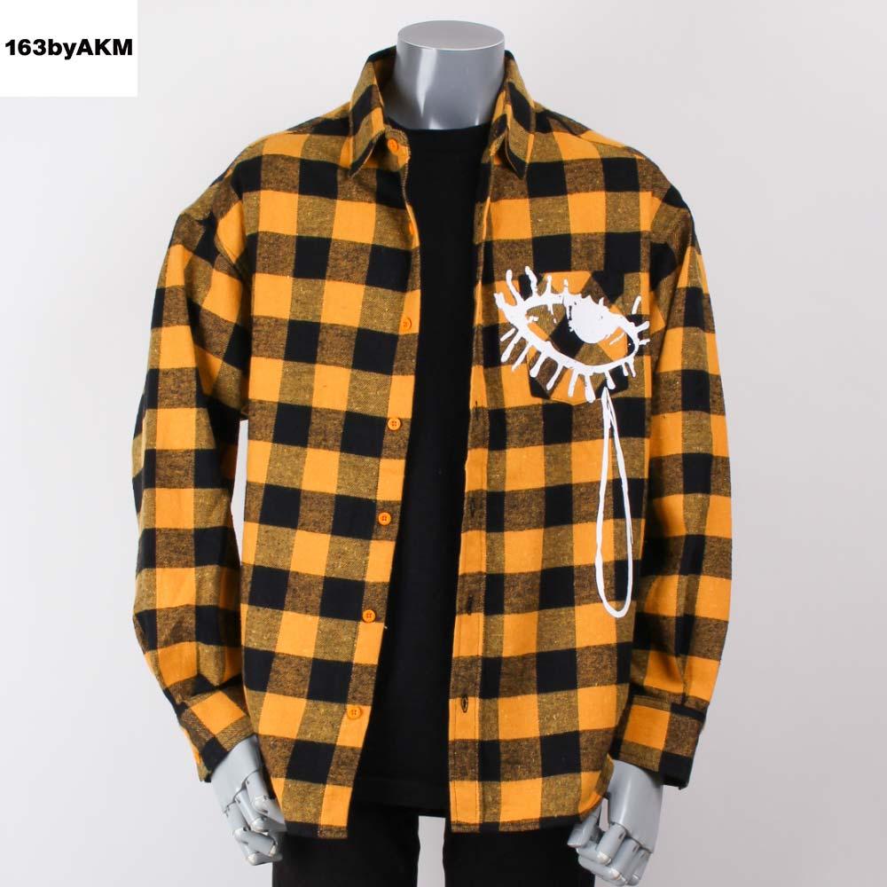 163byAKM イチロクサンバイエイケイエム ビッグシルエットネルシャツ AAA 末吉秀太 コラボモデル オレンジの画像