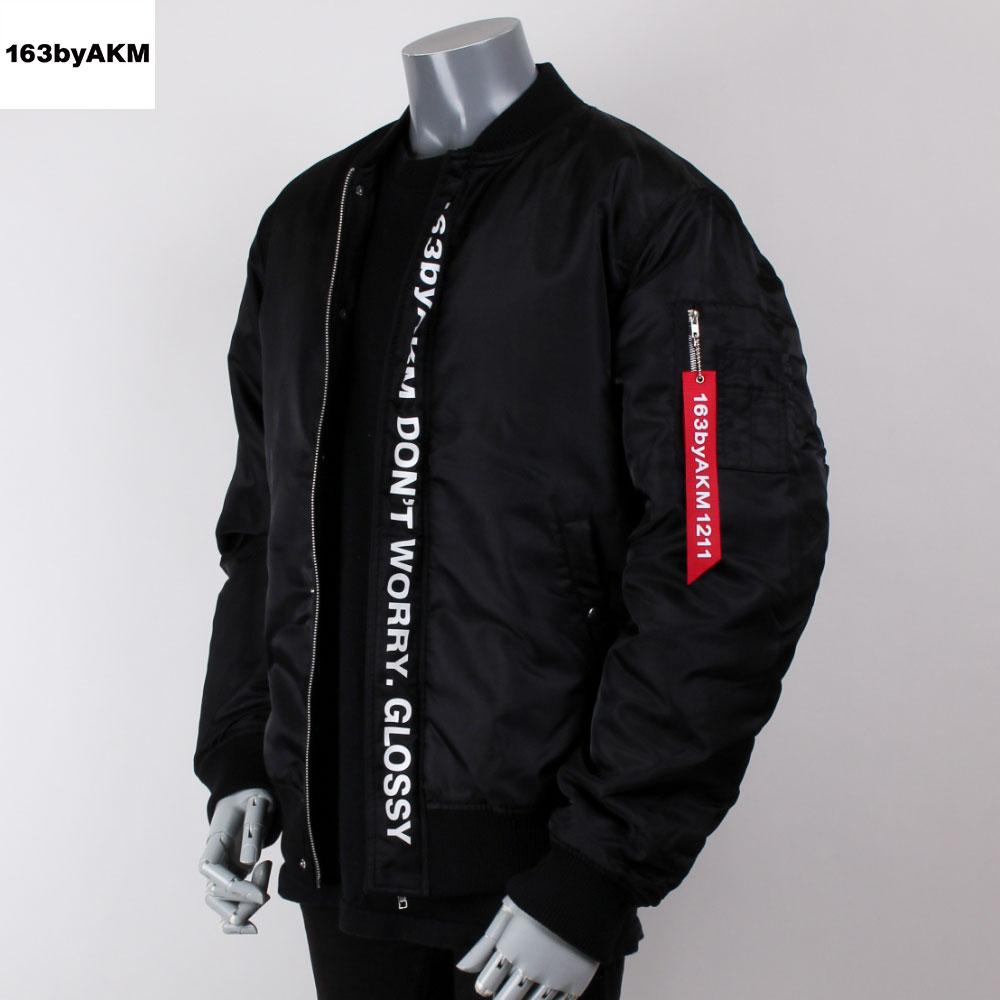 163byAKM イチロクサンバイエイケイエム ビッグシルエット ロゴプリント MA-1 ジャケット AAA 末吉秀太 コラボモデル ブラックの画像
