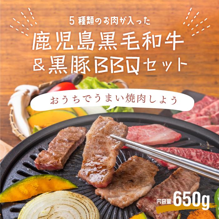 鹿児島黒毛和牛(経産牛)&かごしま黒豚よくばり5種食べ比べセット650g画像