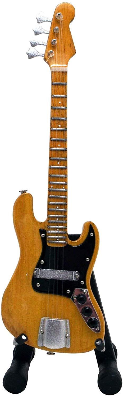 15cm ミニチュア ギター フィギュア ジャズ ベース ナチュラル ウッド画像