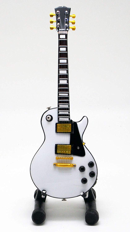 15cm ミニチュア ギター フィギュア レスポール タイプ ホワイト画像