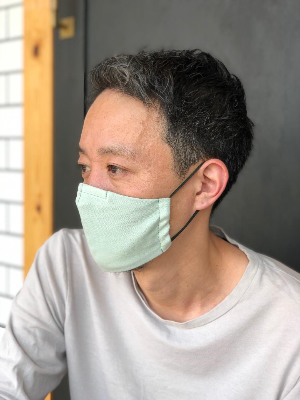 【納期3日以内】国産ダブルガーゼ不織布フィルターポケット付き立体マスク(ノーズワイヤー入り)グリーン Lサイズ画像