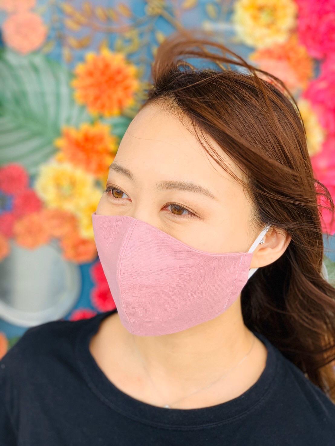 【包んで癒すマスク】国産ダブルガーゼ不織布フィルターポケット付き立体マスク(ノーズワイヤーなし)モーヴピンク画像