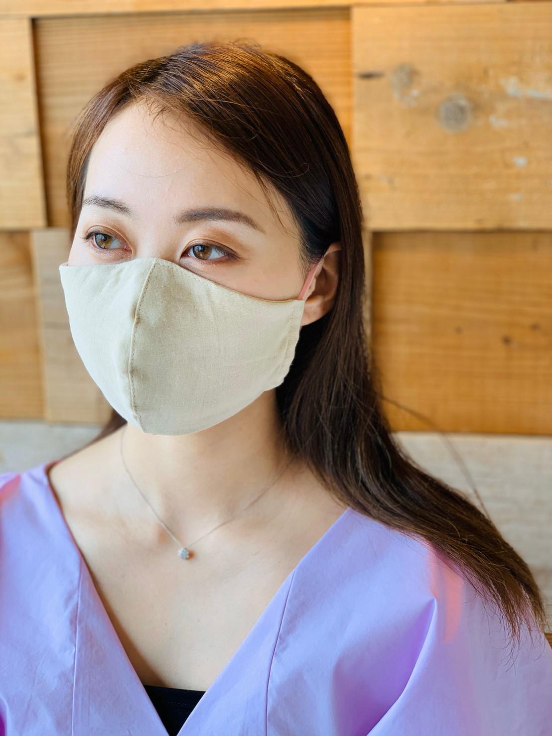 【Lサイズ】国産オーガニックダブルガーゼ不織布フィルターポケット付き立体マスク(ノーズワイヤーなし)ベージュLサイズ画像