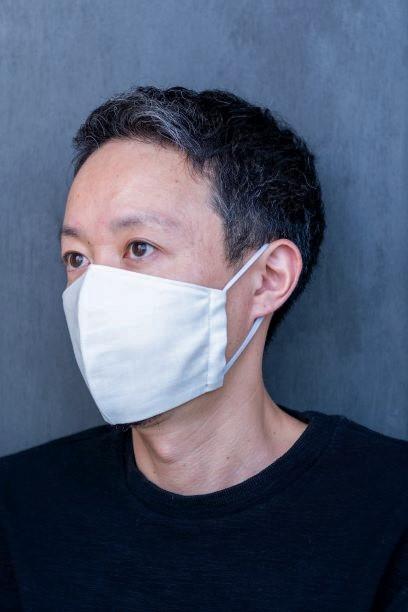 【抗菌防臭加工】国産ダブルガーゼ不織布フィルターポケット付き立体マスク(ノーズワイヤーなし)アイスグレー画像