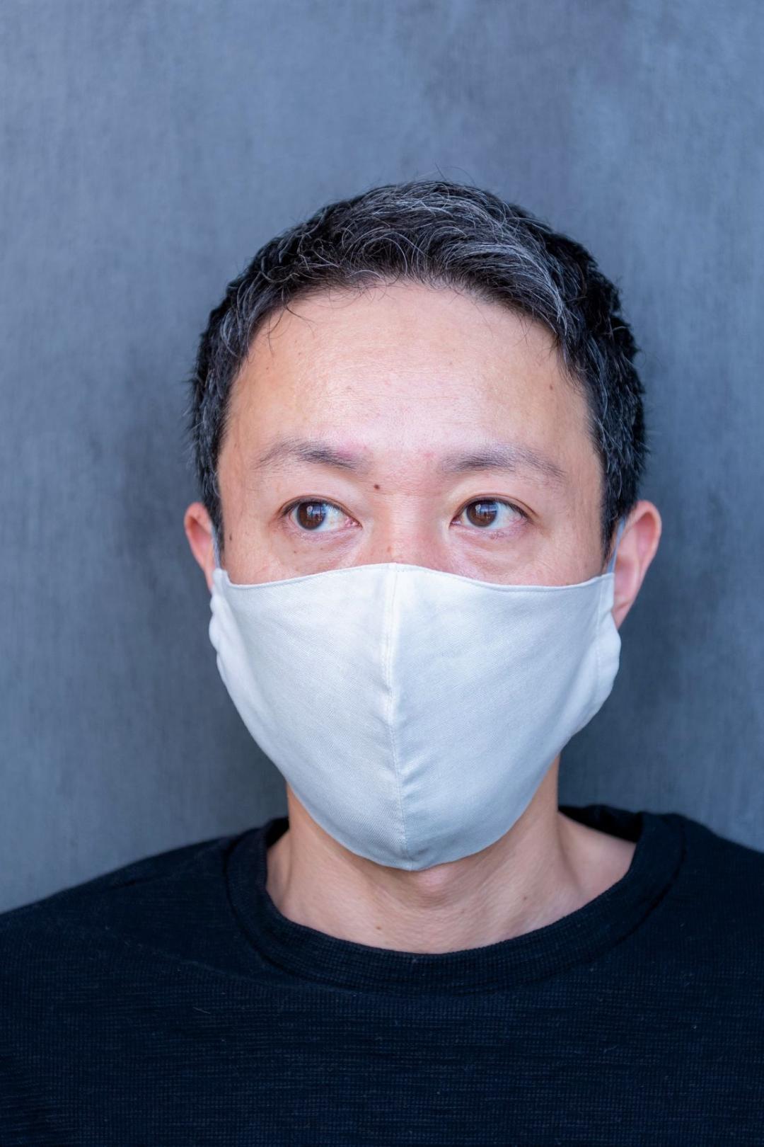 【Lサイズ】国産ダブルガーゼ不織布フィルターポケット付き立体マスク(ノーズワイヤーなし)アイスグレー画像