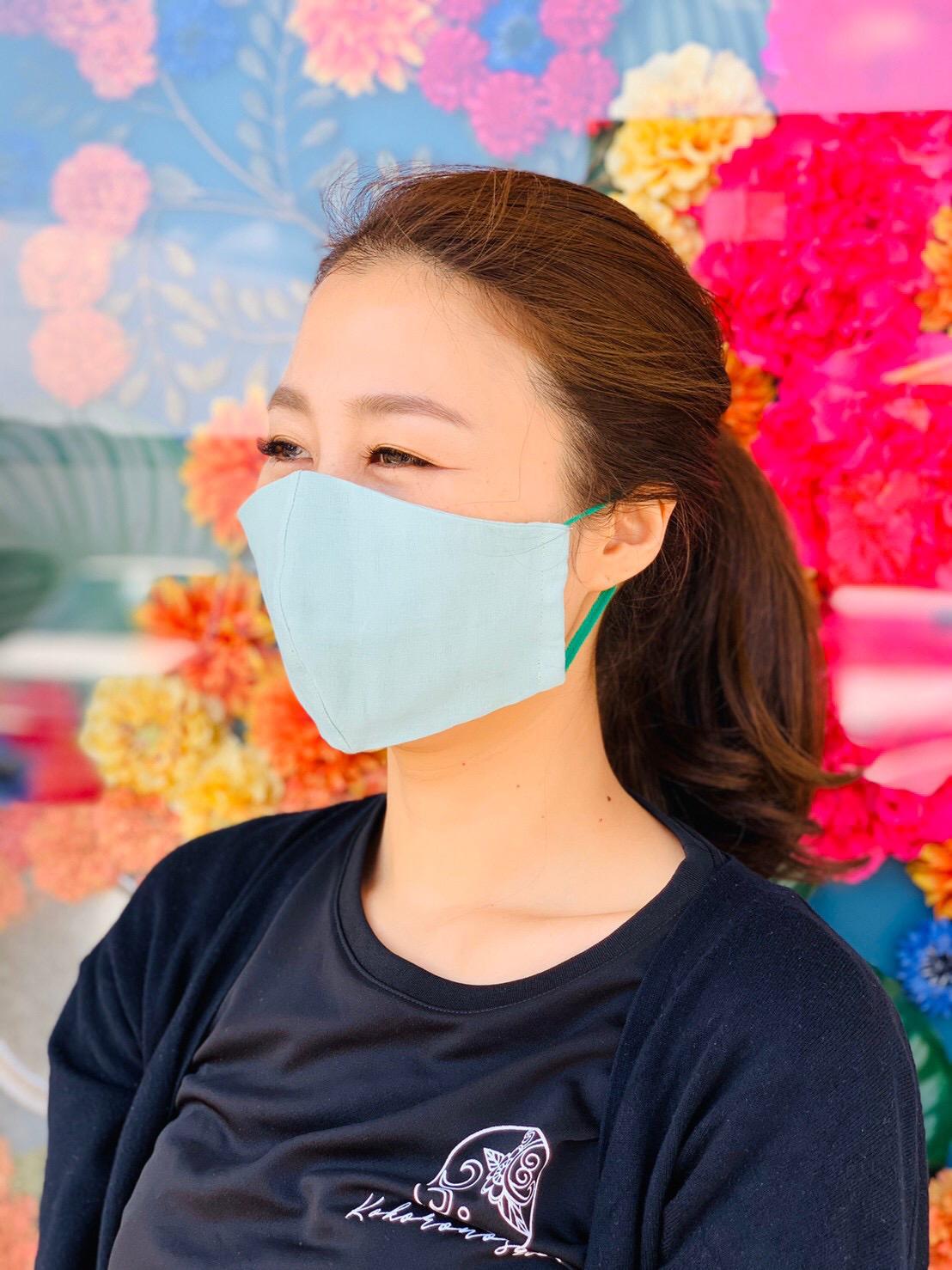 【納期10日以内】国産ダブルガーゼ不織布フィルターポケット付き立体マスク(ノーズワイヤーなし)グリーン画像