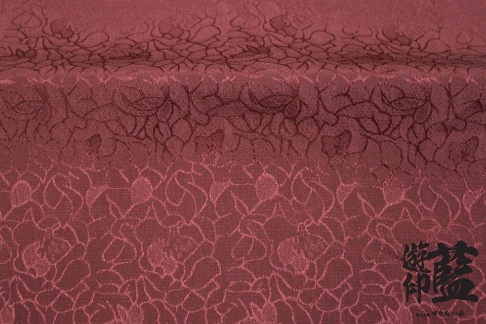 ポリエステルチリメンジャガード40cm単位売り・・・<花柄(大) 19ワインレッド>の画像