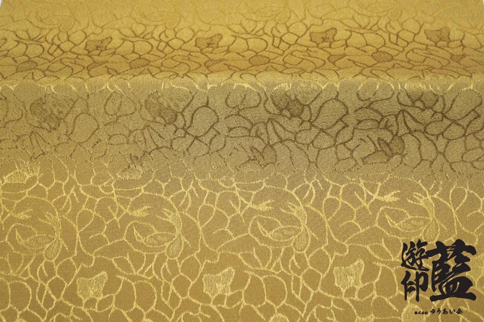 ポリエステルチリメンジャガード40cm単位売り・・・<花柄(大) 32ゴールド>の画像