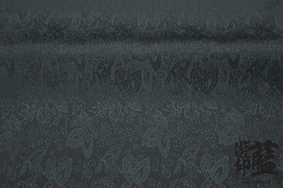 ポリエステルチリメンジャガード40cm単位売り・・・<フラワーズ 06ブラック>画像