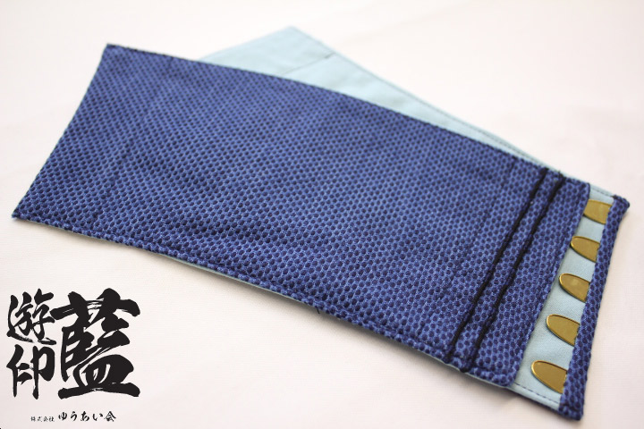 【藍染】短手甲 浅葱一本刺子<長さ約11㎝・5枚コハゼ>画像