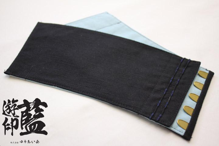 【黒】短手甲 紬<長さ約11㎝・5枚コハゼ>の画像