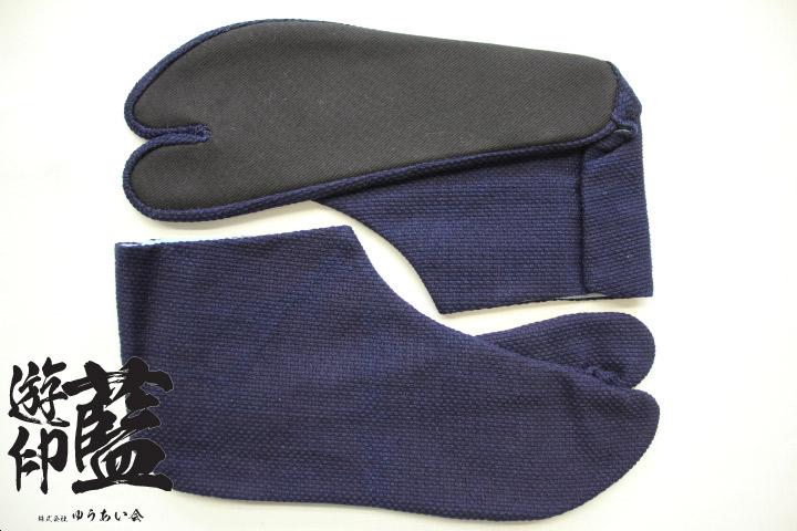 【藍染】岡足袋 一重織刺子(遠州正藍染)<4枚コハゼ>画像