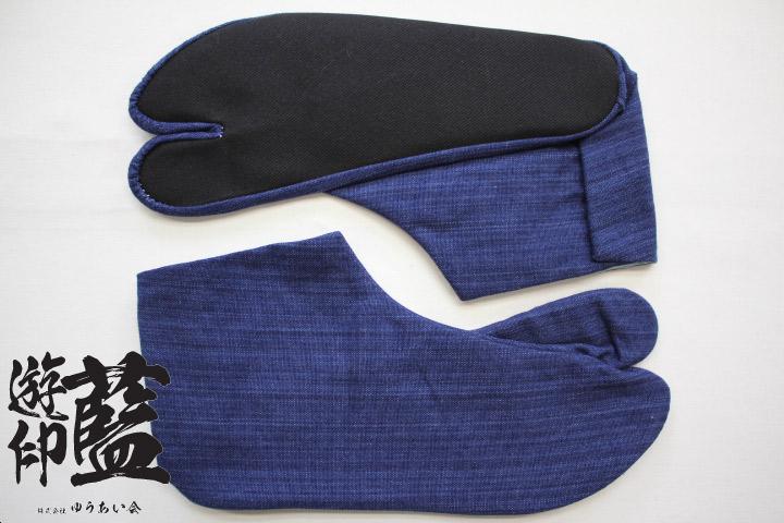 【藍染】岡足袋 やたら縞(武州正藍染浅葱縞)<4枚コハゼ>画像
