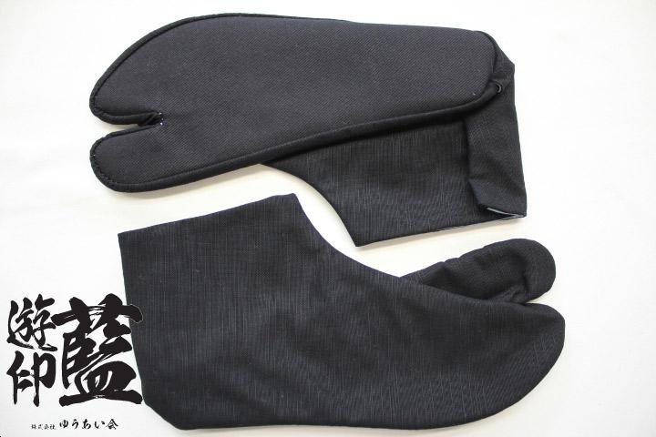 【黒】岡足袋 紬<4枚コハゼ>の画像